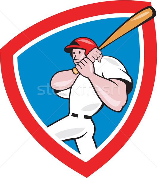 Baseball játékos címer piros rajz illusztráció amerikai Stock fotó © patrimonio