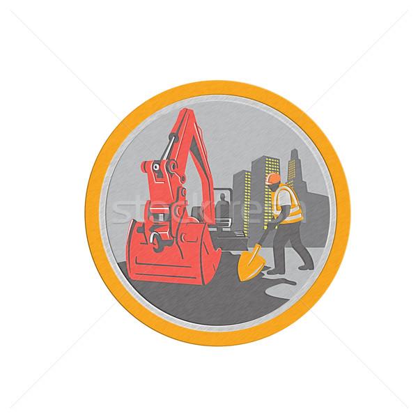 Metallic Mechanical Digger Construction Worker Circle Stock photo © patrimonio
