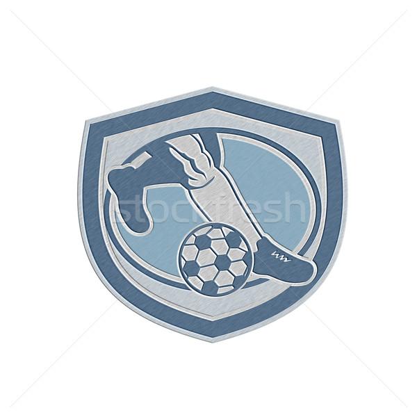 Fémes láb láb rúg futballabda pajzs Stock fotó © patrimonio