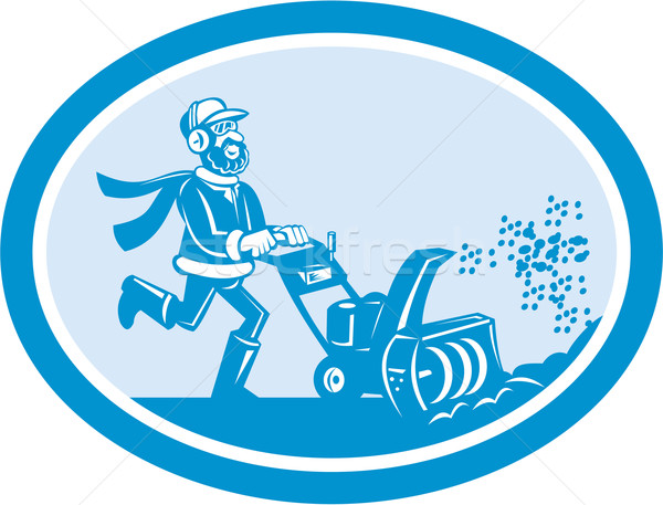 Man With Snow Blower Oval Cartoon Stock photo © patrimonio