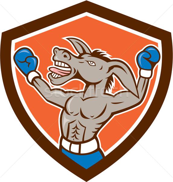 Donkey Boxing Celebrate Shield Cartoon Stock photo © patrimonio