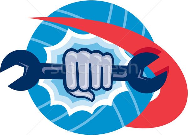Mechanic Hand Holding Spanner Punching  Stock photo © patrimonio