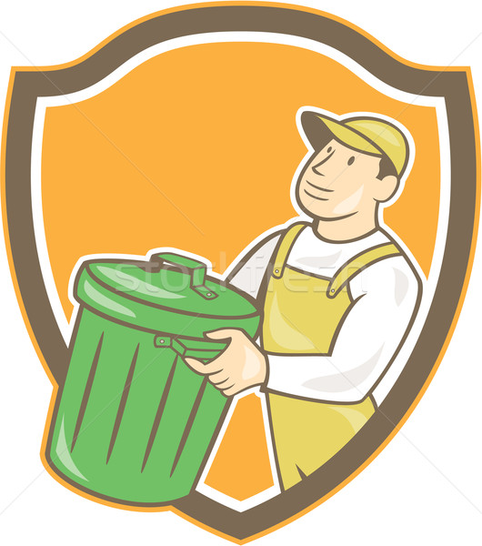 Garbage Collector Carrying Bin Shield Cartoon Stock photo © patrimonio