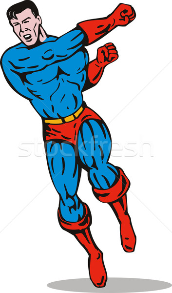 Superhero run and punch side Stock photo © patrimonio
