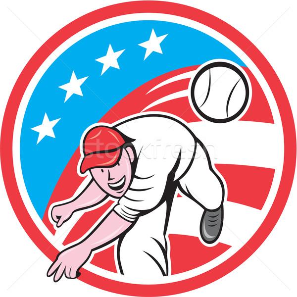 Baseball Pitcher Outfielder Throwing Ball Circle Cartoon Stock photo © patrimonio