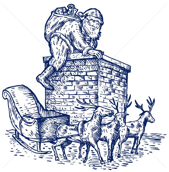 Santa Claus climning chimney blue and white Stock photo © patrimonio