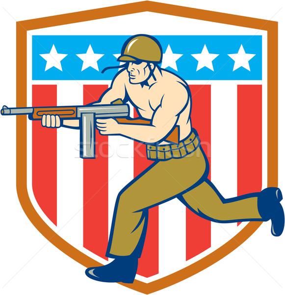 World War Two Soldier American Tommy Gun Shield Stock photo © patrimonio