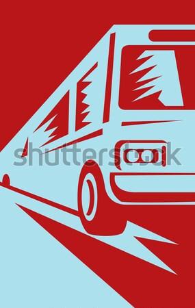 Ciężarówka załadować ilustracja w stylu retro odizolowany Zdjęcia stock © patrimonio