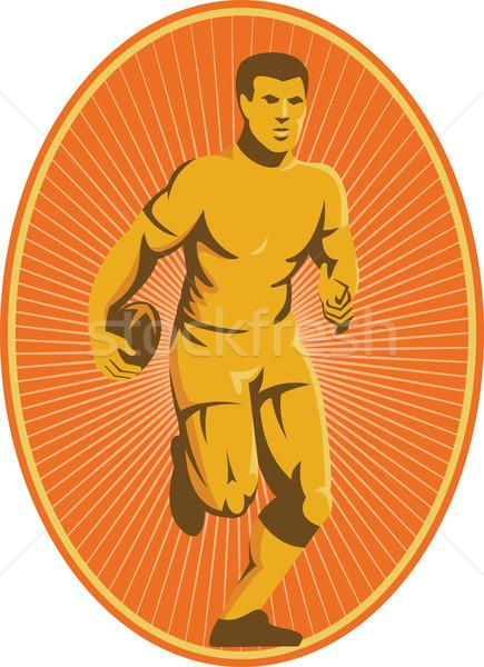 Rugby Player Running Passing Ball Retro Stock photo © patrimonio