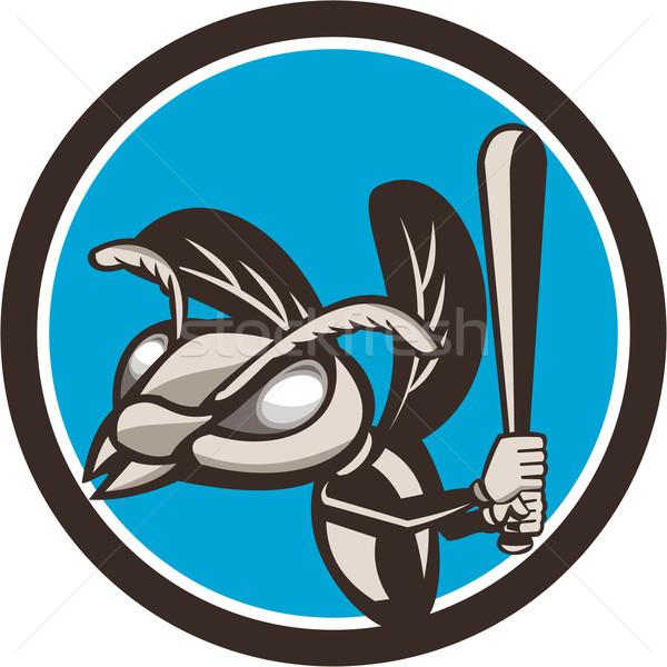 Hornet Baseball Player Batting Circle Retro Stock photo © patrimonio