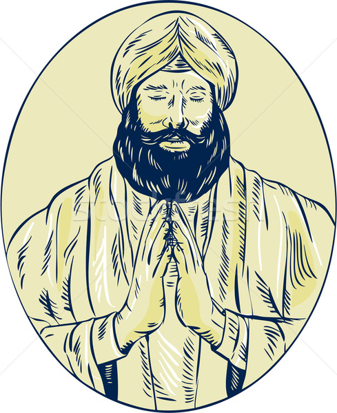 Sikh Priest Praying Front Oval Etching Stock photo © patrimonio