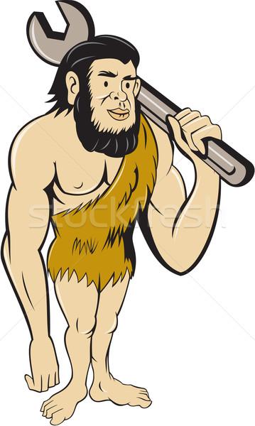 Neanderthal CaveMan With Spanner Cartoon Stock photo © patrimonio