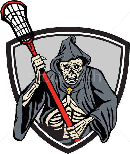 Grim Reaper Lacrosse Player Crosse Stick Retro Stock photo © patrimonio