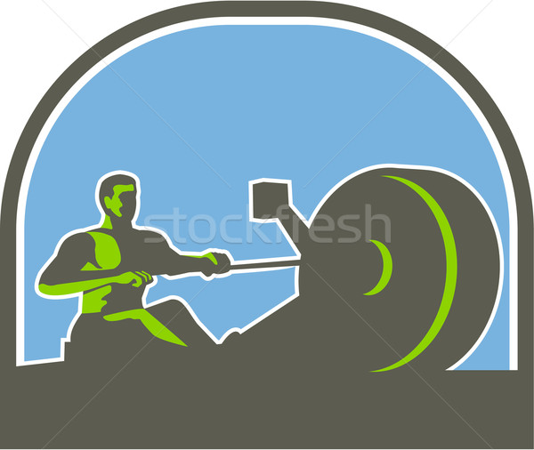Remero remo máquina mitad círculo retro Foto stock © patrimonio