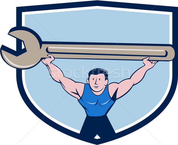 Mechanic Lifting Giant Spanner Wrench Crest Cartoon Stock photo © patrimonio