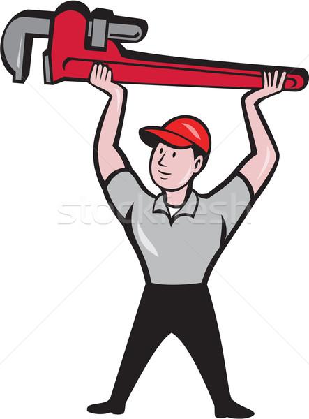 Plumber Lifting Monkey Wrench Cartoon Stock photo © patrimonio