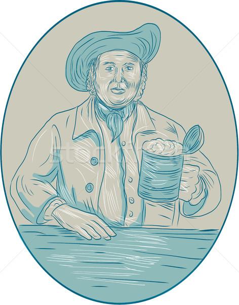 Cavalheiro cerveja oval desenho esboço estilo Foto stock © patrimonio
