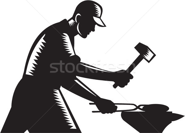 Blacksmith Worker Forging Iron Black and White Woodcut Stock photo © patrimonio
