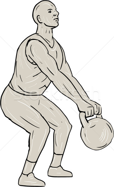 Athlete Fitness Squatting Kettlebell Drawing Stock photo © patrimonio