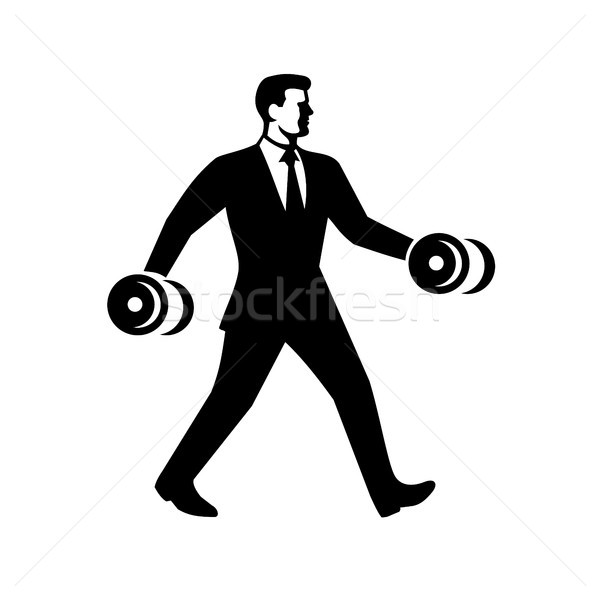 Businessman Power Walking Holding Dumbbell Stock photo © patrimonio