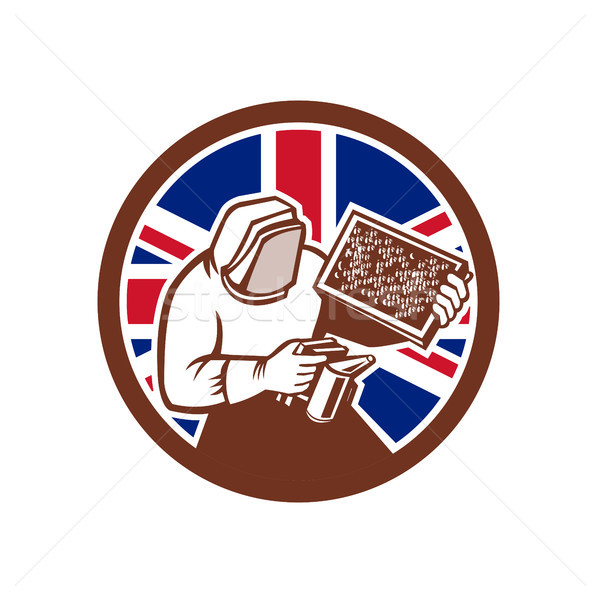 British Beekeeper Union Jack Flag Icon Stock photo © patrimonio