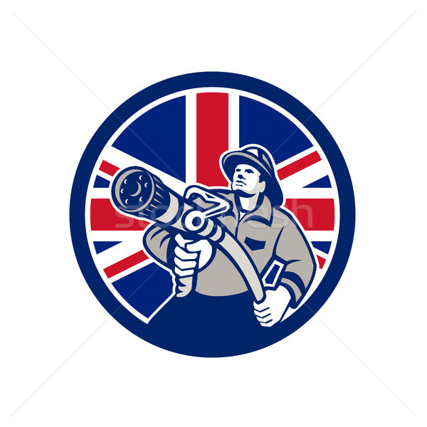 British Firefighter Union Jack Flag Icon Stock photo © patrimonio