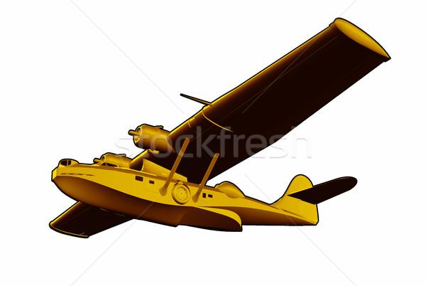 Foto stock: Vuelo · barco · mar · avión · ilustración · mundo