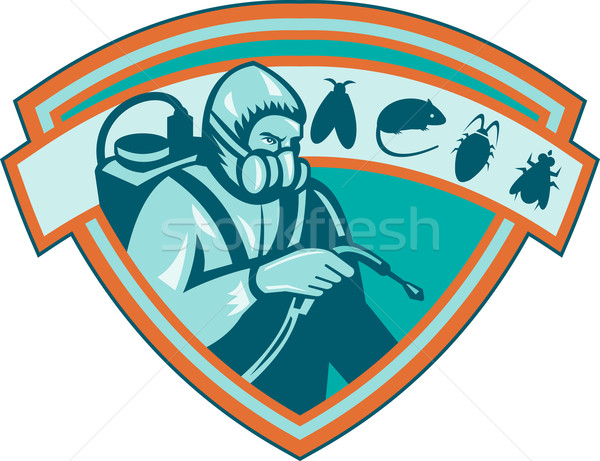 Pest Control Exterminator Worker Shield Stock photo © patrimonio