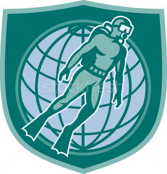 дайвинг погружение Мир щит иллюстрация Сток-фото © patrimonio
