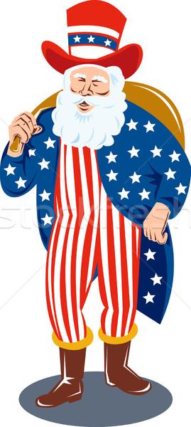 Święty mikołaj amerykańską flagę gwiazdki ilustracja ojciec Zdjęcia stock © patrimonio