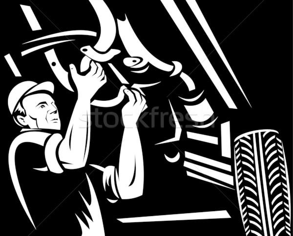 Car mechanic repairing working on auto vehicle  Stock photo © patrimonio