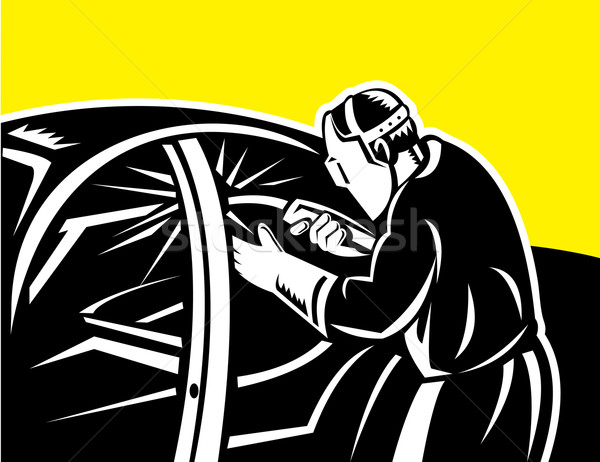 Soudage lampe de poche travail voiture illustration Photo stock © patrimonio