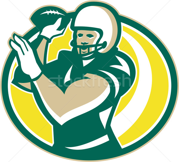 American Football QB Passing Ball retro Stock photo © patrimonio