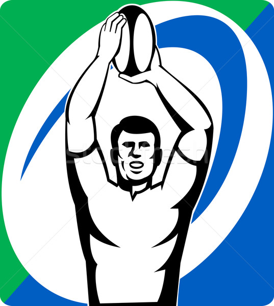 Stock photo: Rugby player  throw lineout ball