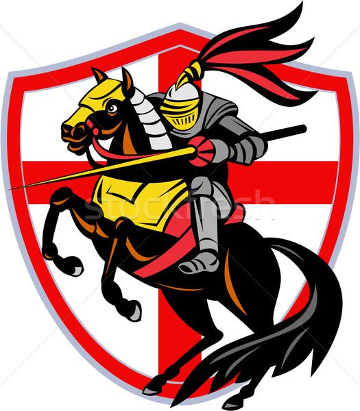 Engels ridder Engeland vlag schild retro Stockfoto © patrimonio