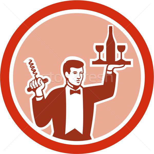 официант вино штопор ретро Сток-фото © patrimonio