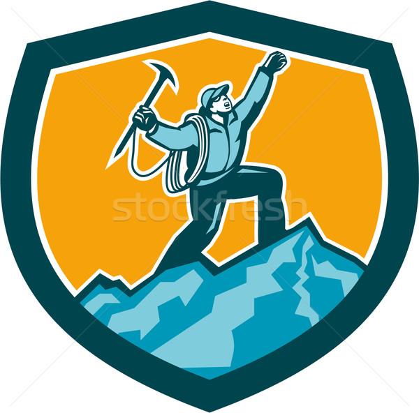 Mountain Climber Reaching Summit Retro Shield Stock photo © patrimonio
