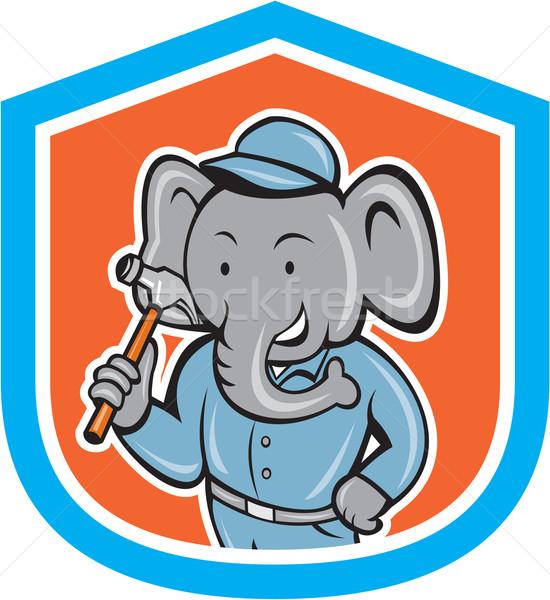 Olifant bouwer hamer kuif cartoon Stockfoto © patrimonio