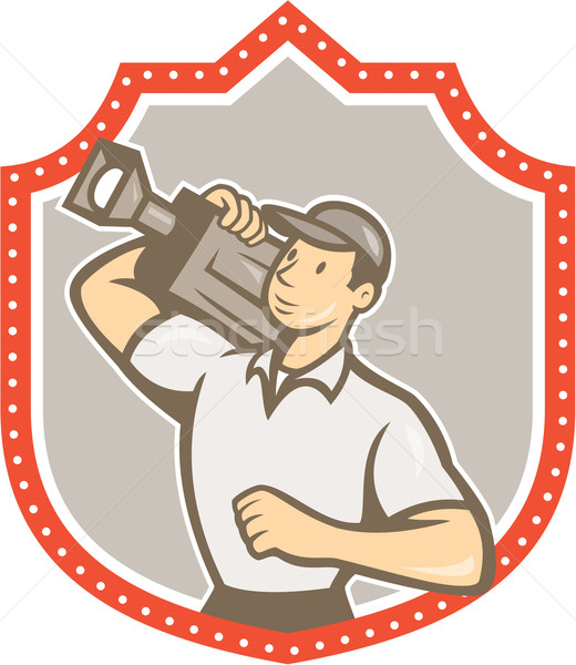 Cameraman Vintage Film Movie Camera Shield  Stock photo © patrimonio