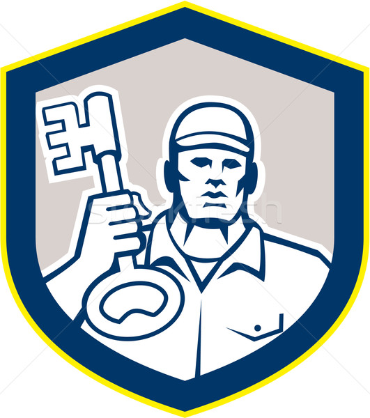 Cerrajero clave escudo retro ilustración Foto stock © patrimonio