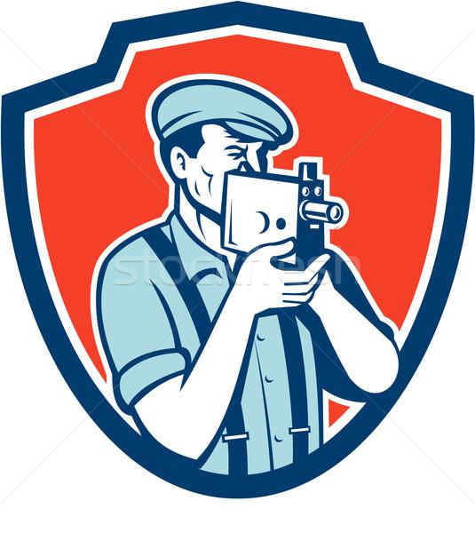 Photographer Shooting Vintage Camera Retro Stock photo © patrimonio