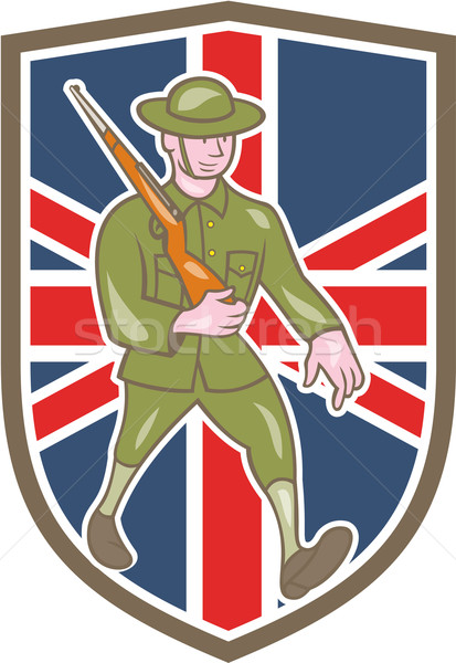World War One Soldier British Marching Cartoon Shield Stock photo © patrimonio