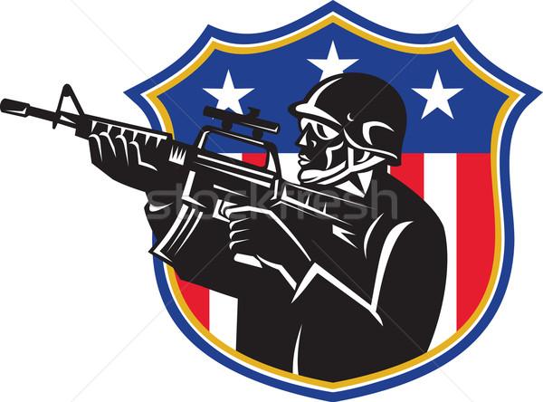Katona rendőr puska pajzs illusztráció amerikai Stock fotó © patrimonio