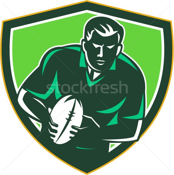 Rugby Player Running Passing Ball Crest Retro Stock photo © patrimonio
