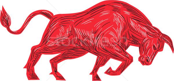 Bull Charging Drawing Stock photo © patrimonio