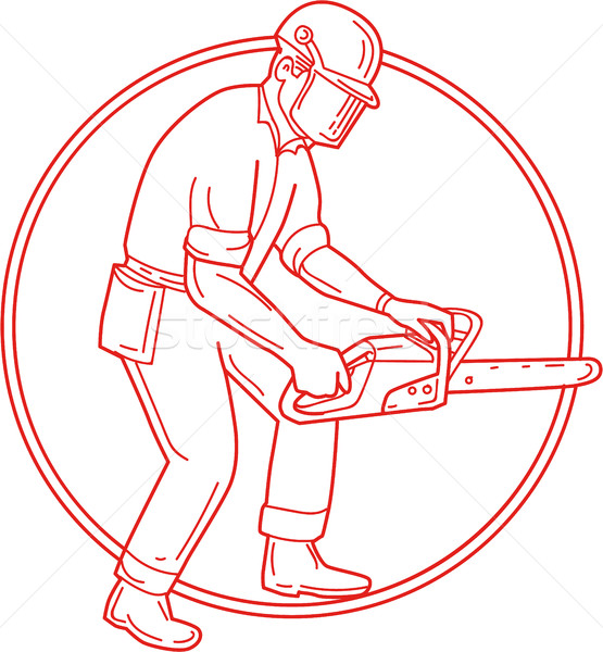 Lumberjack Arborist Chainsaw Circle Mono Line Stock photo © patrimonio