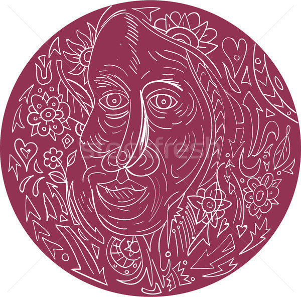 Vecchia faccia cerchio mandala stile illustrazione Foto d'archivio © patrimonio