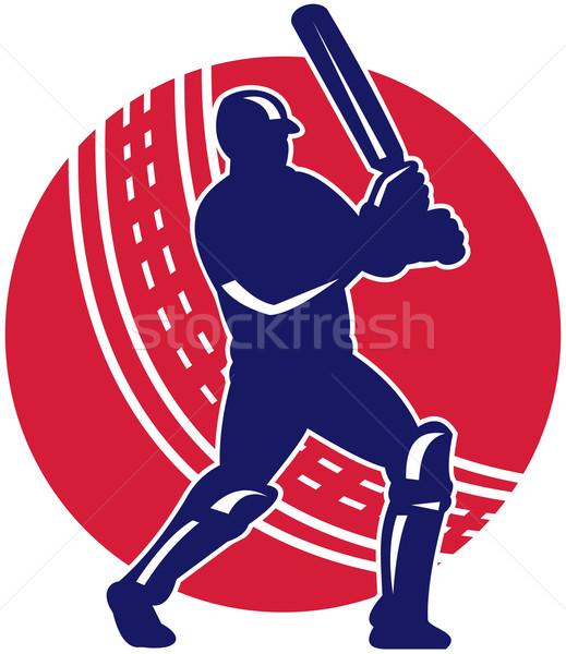 cricket sports batsman batting retro Stock photo © patrimonio