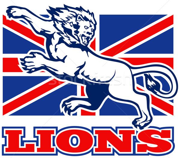 Leeuw brits union jack vlag illustratie groot-brittannië Stockfoto © patrimonio