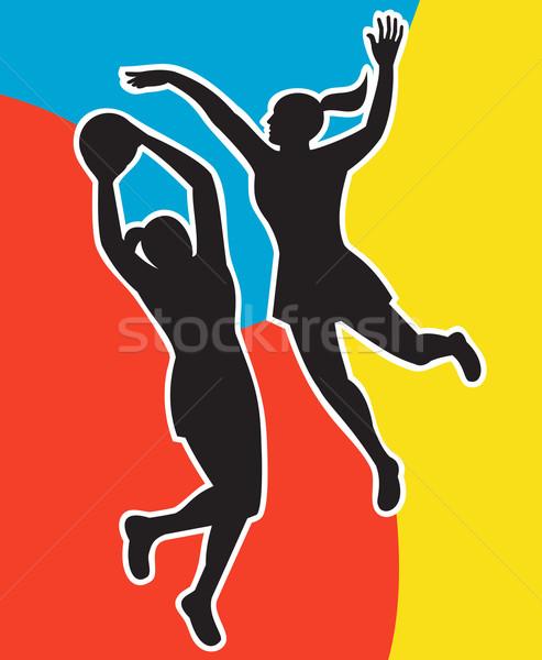 netball player jumping shooting blocking Stock photo © patrimonio